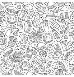Cartoon cute hand drawn Fast food seamless pattern vector