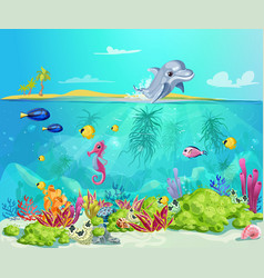 cartoon sea life template vector image
