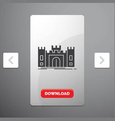 castle defense fort fortress landmark glyph icon vector image