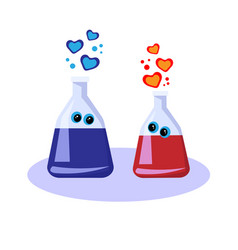 Chemistry love in flasks vector