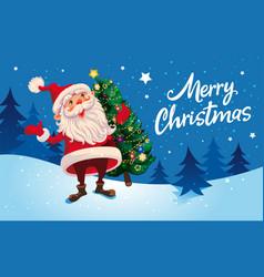Christmas cute cartoon santa claus with christmas vector