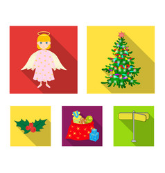 Christmas tree angel gifts and holly flat icons vector