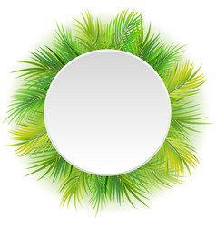 circle blank sign with tropical background vector image
