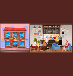 coffeehouse building cafe exterior and interior vector image