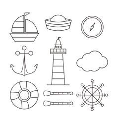 Collection marine art line vector