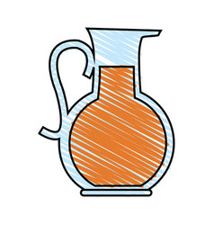 Color crayon stripe cartoon glass jar with juice vector