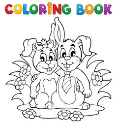 Coloring book rabbit theme 2 vector