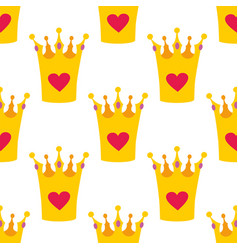 crown with hearts seamless background or tile baby vector image