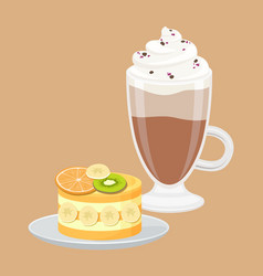 cup of coffee with fruit cake vector image