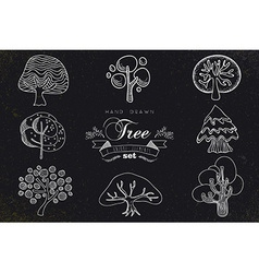 Custom hand made tree icons set vector image