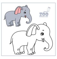 cute cartoon little elephant color and outlined vector image