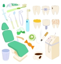 Dental icons set cartoon style vector image