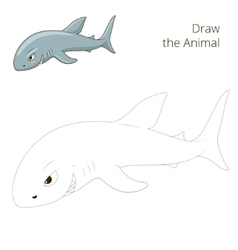 Draw the fish animal shark educational game vector image