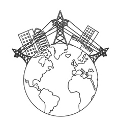 earth globe with buildings and electricity towers vector image