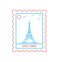 eiffel tower postage stamp blue and red line style vector image
