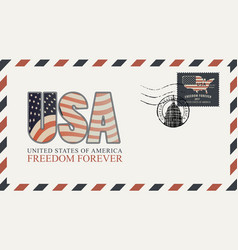 envelope with letters usa and american flag vector image
