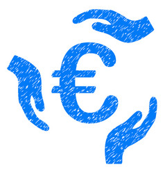 euro care hands icon grunge watermark vector image