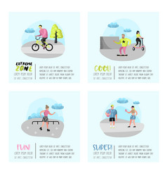 extreme sports poster banner brochure teenagers vector image
