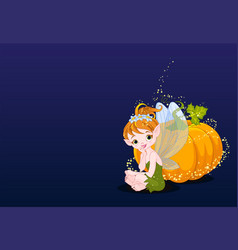 fairy and pumpkin vector image