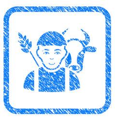 Farmer framed stamp vector