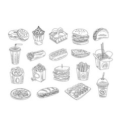Fast food and drinks sketch set hand drawn vector