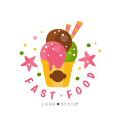 Fast food logo design badge with ice cream sign vector