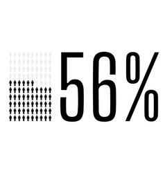 Fifty six percent people chart graphic 56 vector