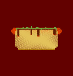 Flat shading style icon pixel hot dog vector
