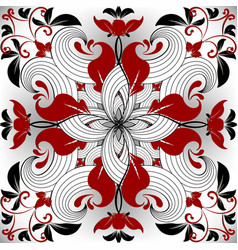 floral ornamental red black white seamless vector image