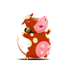funny brown cow with bell vector image
