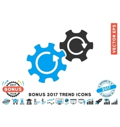 Gears Rotation Flat Icon With 2017 Bonus Trend vector