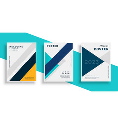 Geometric book cover flyer designs set vector