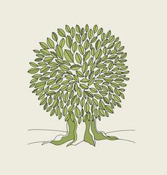 green oak tree hand drawn vector image