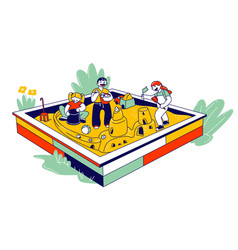 group little children playing in sandbox vector image