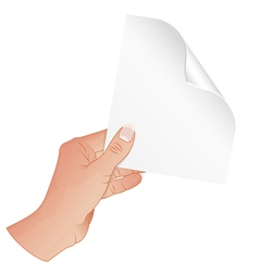 Hand with Piece of Paper vector image vector image