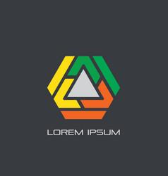 Hexagon triangle business logo vector