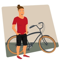 Hipster guy wearing small ponytail with bicycle vector image