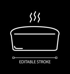 Hot bread loaf white linear icon for dark theme vector