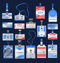 id card or badge mockups identification name tags vector image
