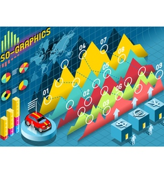 Isometric Infographic Histogram Set Elements with vector
