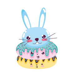 kawaii cute donuts and male rabbit vector image