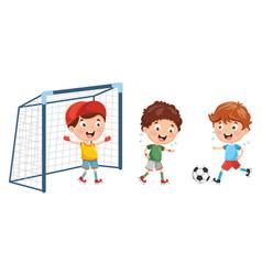Kid playing football vector