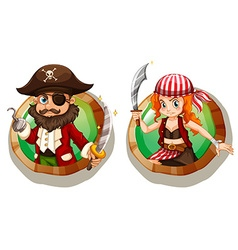 Male and female pirates on badges vector