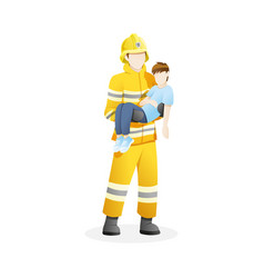 Male firefighter save boy from fire vector