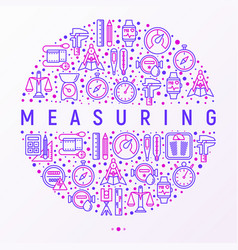 measuring concept in circle with thin line icons vector image