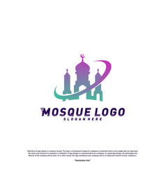 mosque logo design concept templateplanet vector image