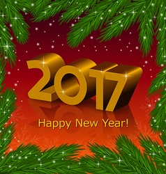 New year 2017 and fir tree frame vector