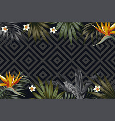 night tropical banner flowers leaves geometrical vector image