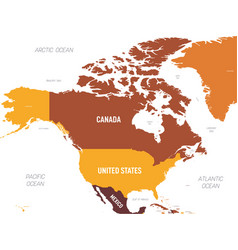 North america map - brown orange hue colored on vector
