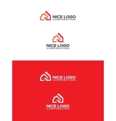 orange and red house logo vector image